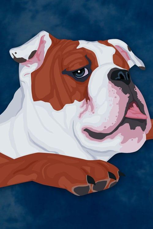 Digital image of Bruiser, the Aggressive Realty & Rentals bulldog mascot